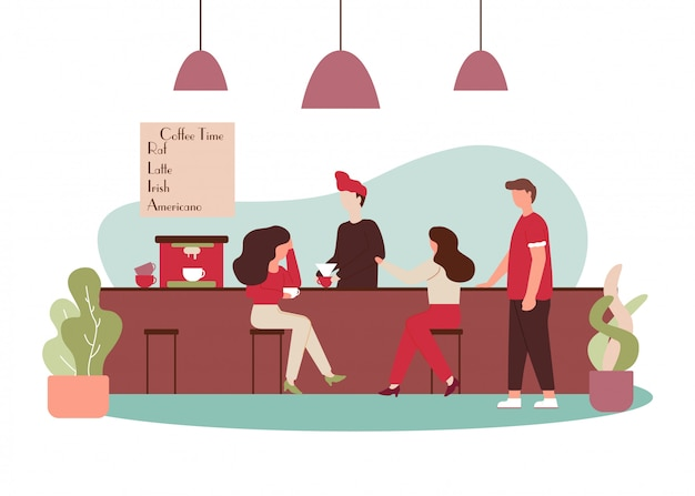 Cartoon people talk drink cafe barista make coffee