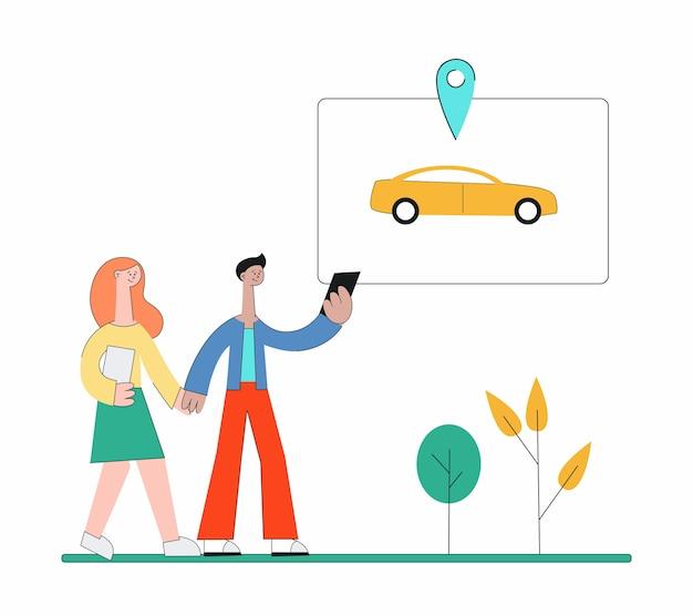 Gente del fumetto che utilizza l'app di car sharing e cammina per trovare l'auto - giovane coppia nel parco che tiene il telefono e cerca un taxi giallo. illustrazione.
