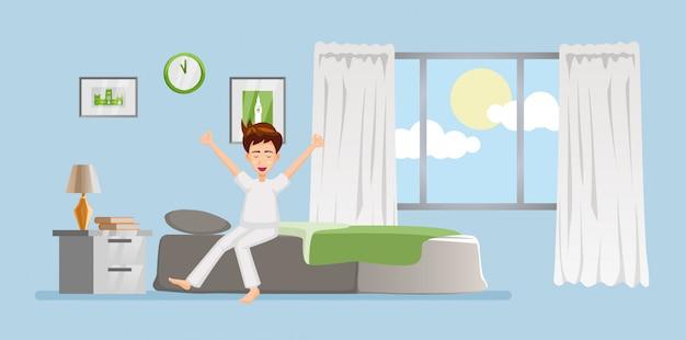 Cartone animato di persone si sveglia la mattina nel disegno del fumetto