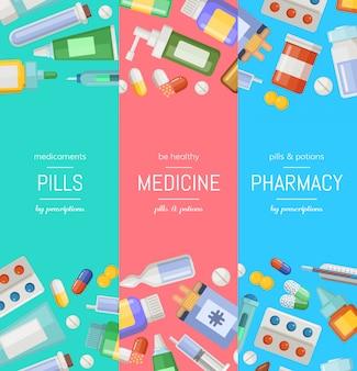 Modelli di banner verticale di farmacia o medicine di fumetto.