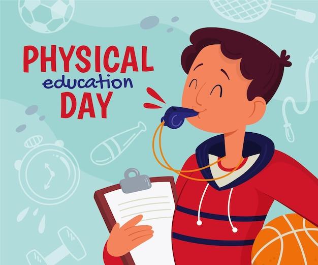 Illustrazione del giorno di educazione fisica dei cartoni animati