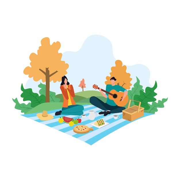 Concetto di picnic del fumetto, coppia felice sull'illustrazione di attività ricreative estive