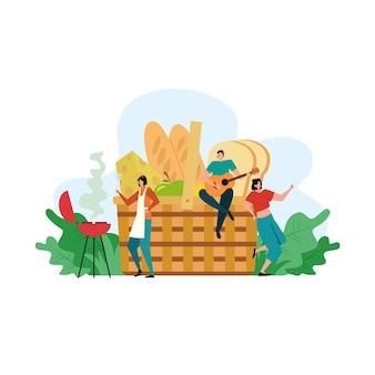 Concetto di picnic del fumetto, persone felici sull'illustrazione di attività ricreative estive
