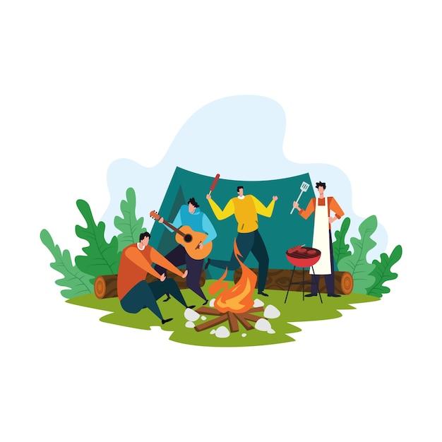 Concetto di picnic del fumetto, persone felici sull'illustrazione di attività ricreative estive Vettore Premium