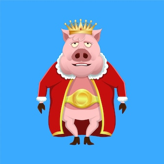 Re del maiale del fumetto che indossa i vestiti e la corona del re