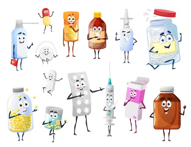 Pillole e medicinali dei cartoni animati, personaggi divertenti di droghe