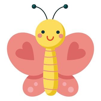 Farfalla rosa cartone animato con cuore sulle ali simpatico personaggio sorridente per un design infantile