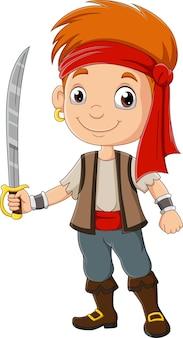 Ragazzo pirata dei cartoni animati che tiene una spada