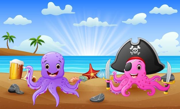 Cartone animato di polpo pirata sulla spiaggia