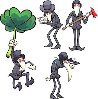 Personaggio dei cartoni animati medico della peste in diverse pose