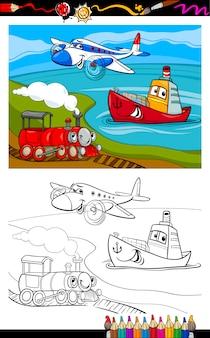 Pagina da colorare di cartone animato aereo treno nave