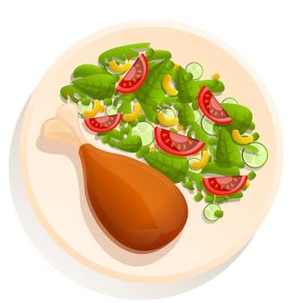 Piatto di cartone animato con coscia di pollo e insalata
