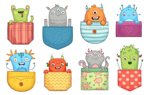 Mostro tascabile dei cartoni animati. mostri divertenti in tasca, creature spaventose di halloween e piccolo set di illustrazioni di mostri fischi