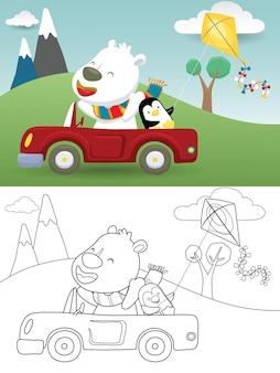 Cartoon di orso polare alla guida di auto con piccolo pinguino durante la riproduzione di aquilone sullo sfondo della natura