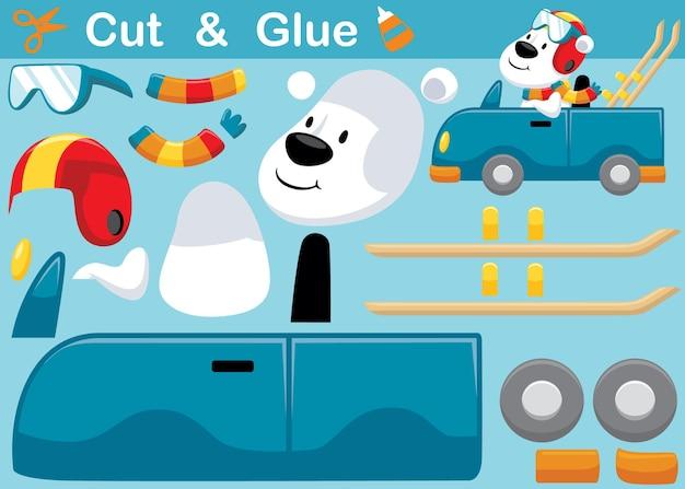 Cartone animato di orso polare che indossa casco e artigianato su auto che trasportano snowboard. gioco di carta educativo per bambini. ritaglio e incollaggio