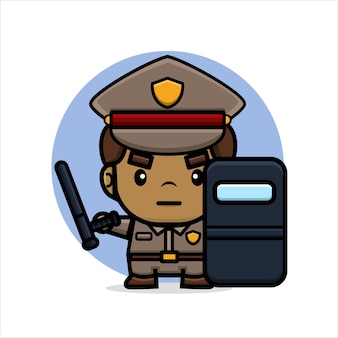 La polizia dei cartoni animati tiene il manganello e lo scudo antisommossa