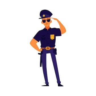 Poliziotto del fumetto che sta nella posa di saluto, carattere dell'ufficiale di polizia che indossa uniforme blu