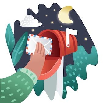 Cassetta postale rossa di pop art del fumetto invia la consegna della posta dell'illustrazione disegnata a mano comica della lettera con la busta isolata su fondo di semitono blu