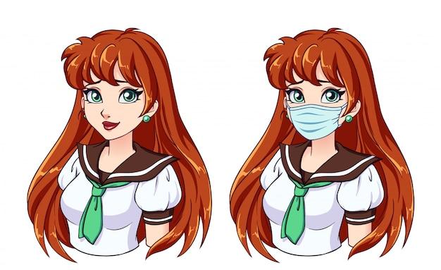 Ritratto del fumetto della ragazza carina con lunghi capelli rossi e maschera medica da portare