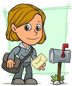 Personaggio dei cartoni animati postgirl con lettera e cassetta postale