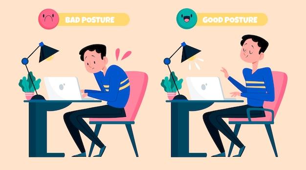 Illustrate le infografiche per la correzione della postura dei cartoni animati