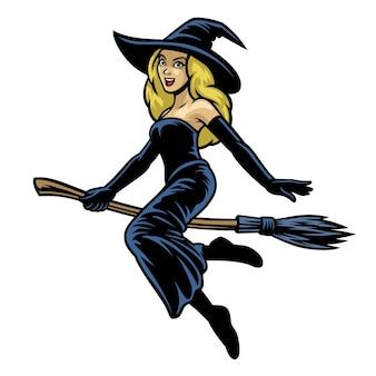 Cartoon belle donne cosplay signora strega cavalcando scopa volante