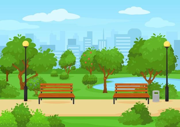 Parco pubblico della città dei cartoni animati con panchine di alberi verdi e parco urbano all'aperto di paesaggi estivi del lago vettore