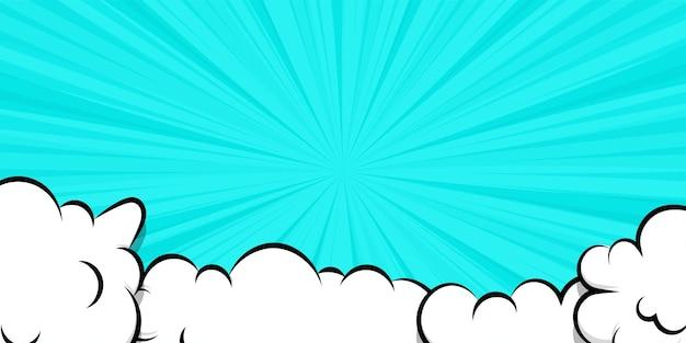 Cartoon puff cloud sfondo blu per il modello di testo dialogo pop art conversazione fumo vapore