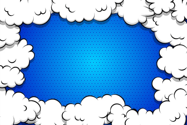 Cartoon puff cloud sfondo blu per modello di testo