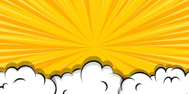 Cartoon puff cloud sfondo giallo per il testo