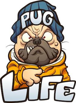 Cane del carlino del fumetto con la faccia arrabbiata che indossa un berretto e il testo pug life Vettore Premium
