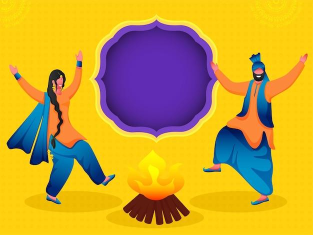 Coppia punjabi cartoon esecuzione danza bhangra con falò