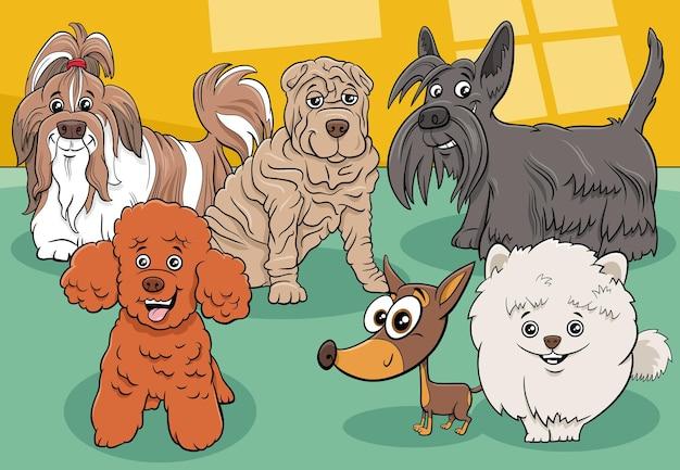 Gruppo di personaggi dei fumetti di cani e cuccioli di razza del fumetto