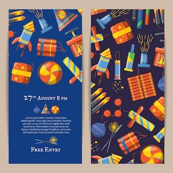 Modello di invito verticale pirotecnica dei cartoni animati per spettacolo di fuochi d'artificio o illustrazione del partito