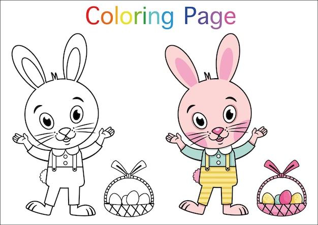 Coniglio del fumetto per l'attività della pagina da colorare illustrazione vettoriale