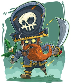 Pirata barbuto rosso cartone animato con pappagallo verde