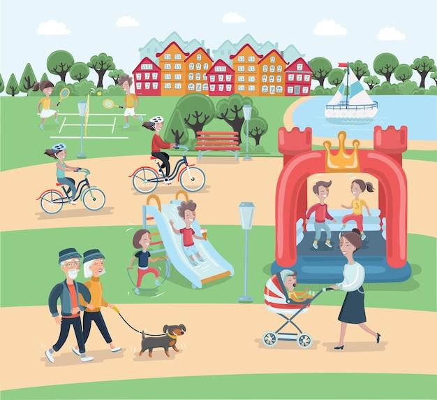 Cartone animato di riposo negli elementi del parco. le persone trascorrono del tempo rilassandosi nella natura