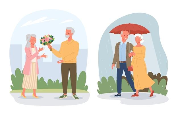 Personaggi dei cartoni animati pensionati amante pensionati seduti insieme sulla spiaggia del mare che camminano sotto la pioggia isolati
