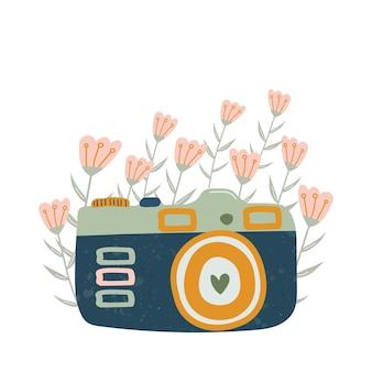 Icona della fotocamera retrò dei cartoni animati per le carte adesive di storie di instagram illustrazione disegnata a mano