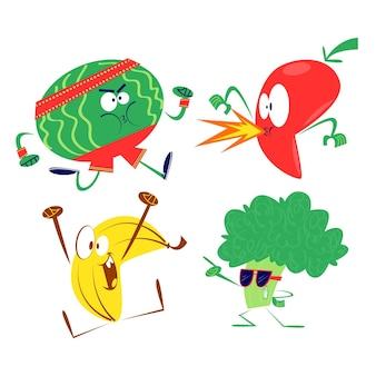 Collezione di frutta e verdura retrò dei cartoni animati