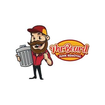 Logo di mascotte ragazzo barba retrò rimozione spazzatura vintage dei cartoni animati o logo ragazzo barba
