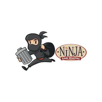 Logo ninja rimozione retrò spazzatura vintage del fumetto o logo ninja