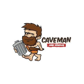 Logo della mascotte del cavernicolo di servizio di rimozione della spazzatura dell'annata retrò dei cartoni animati