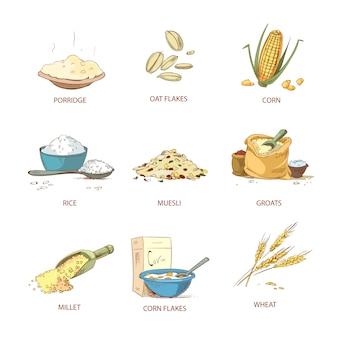 Cartone animato orecchie mature di cereali