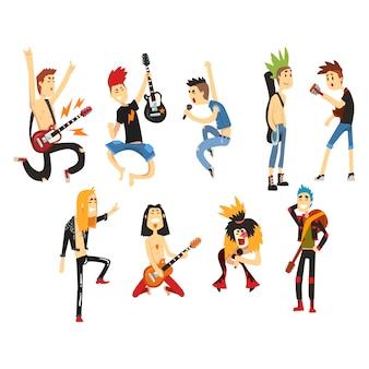 Personaggi di artisti del fumetto rock cantando e suonando su strumenti musicali. ragazzi con tagli di capelli colorati. chitarristi e cantanti. gruppo musicale. impostato