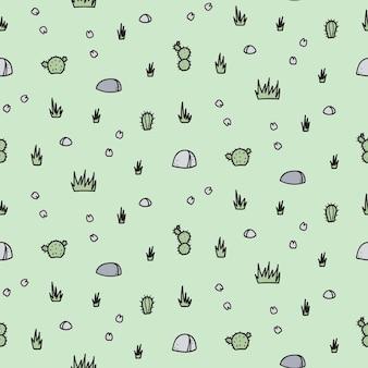 Cartoon rock, fiori senza cuciture vettore. illustrazione disegnata a mano di pianta e pietra