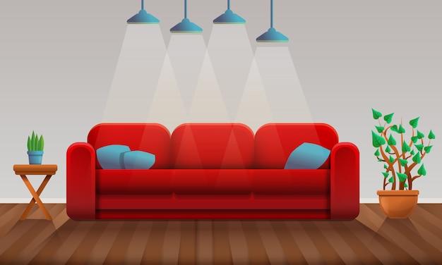 Interno della stanza del fumetto con il sofà e il parquet rossi, illustrazione