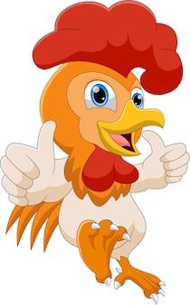 Cartone animato gallo pollice in alto