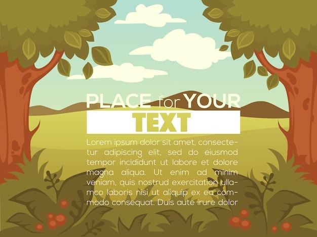 Wor del paesaggio rurale del fumetto il vostro modello dell'insegna o fondo del gioco mobile