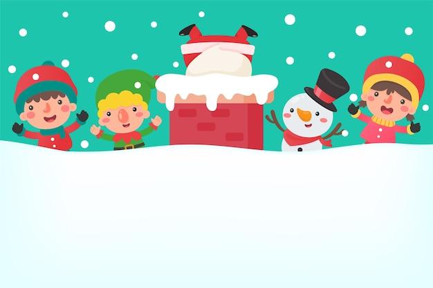 Cartoon santa sul camino e amici sul tetto essere così felice nell'inverno del natale